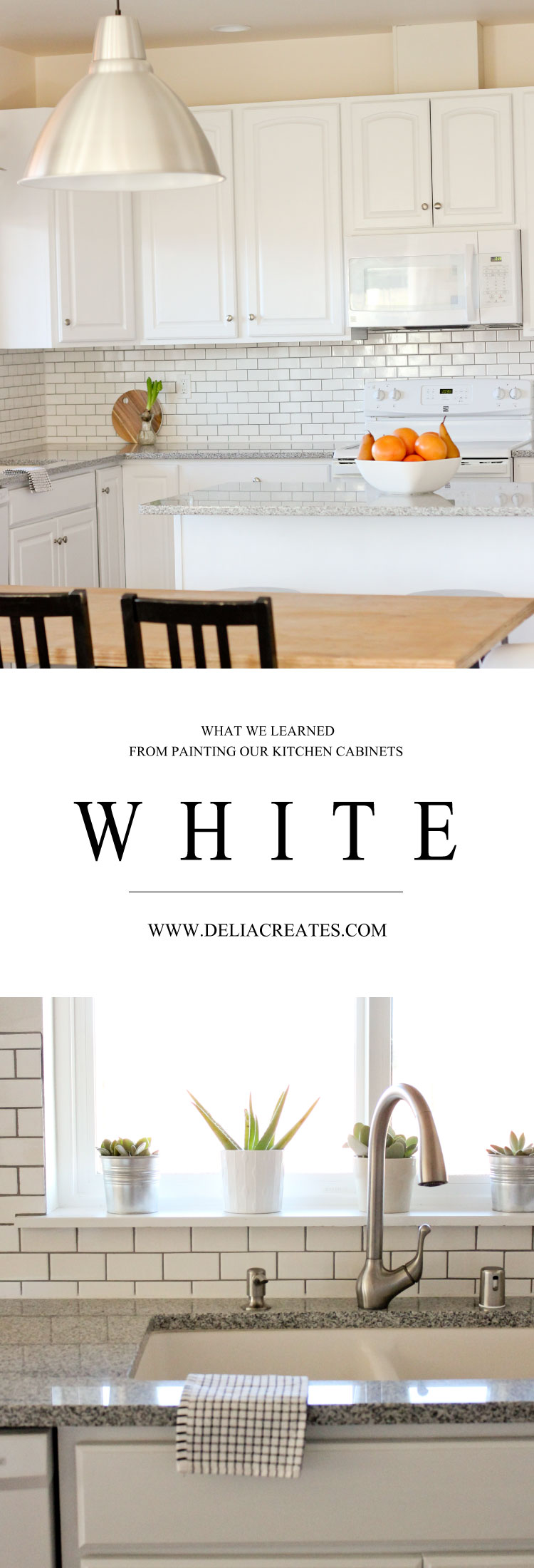 Kitchen Renovation Series: Painting Our Kitchen Cabinets White - with Chalk Paint! // www.deliacreates.com