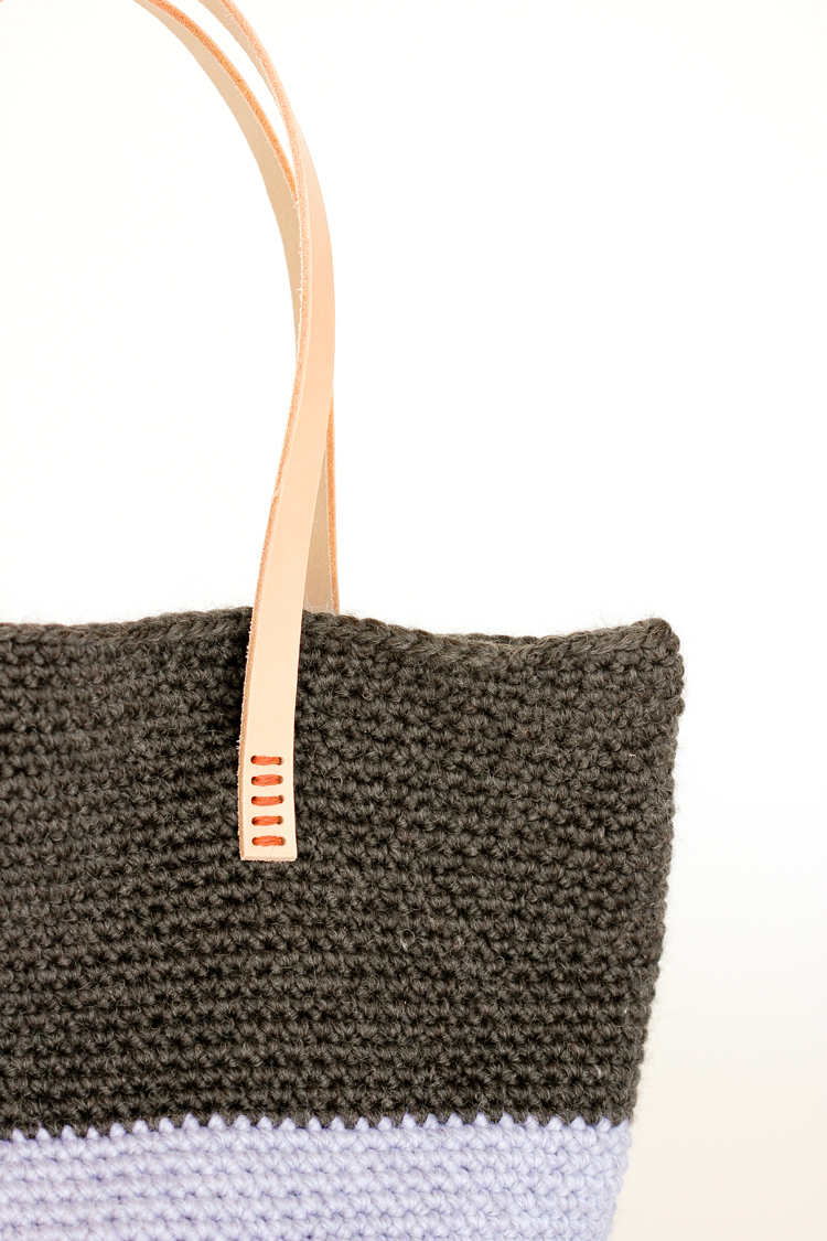 Crochet + Leather Basic Tote – Free Pattern