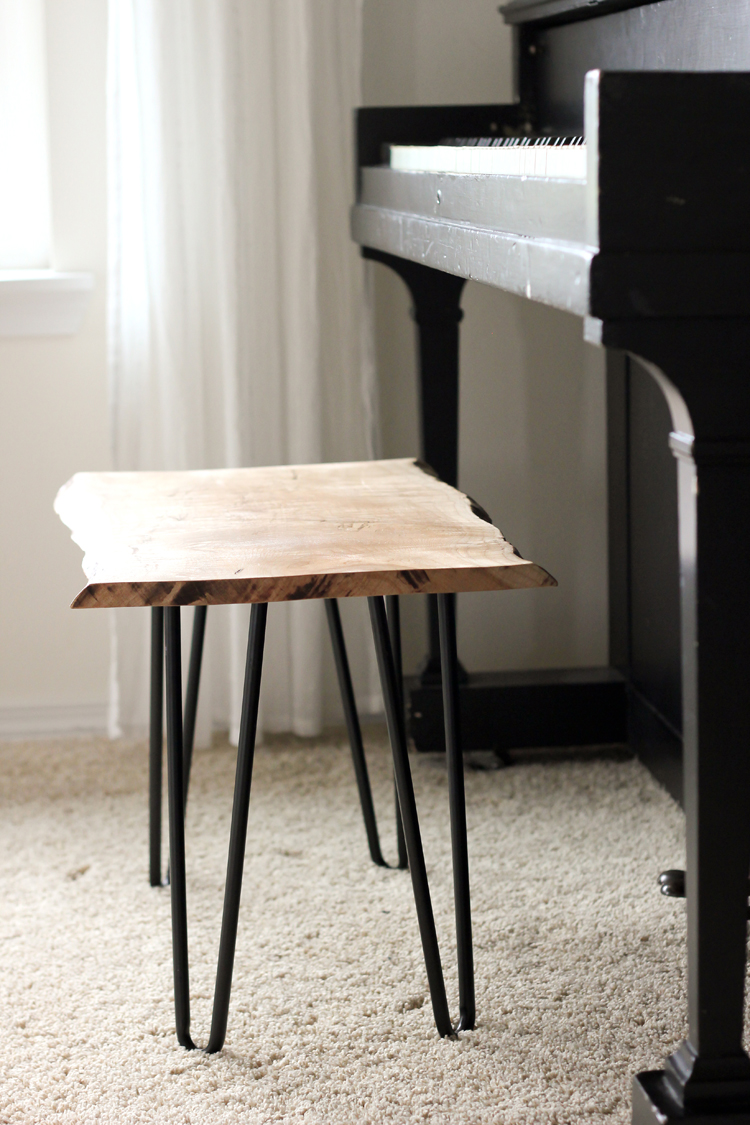 DIY Live Edge Wood Piano Bench Tutorial // www.deliacreates.com