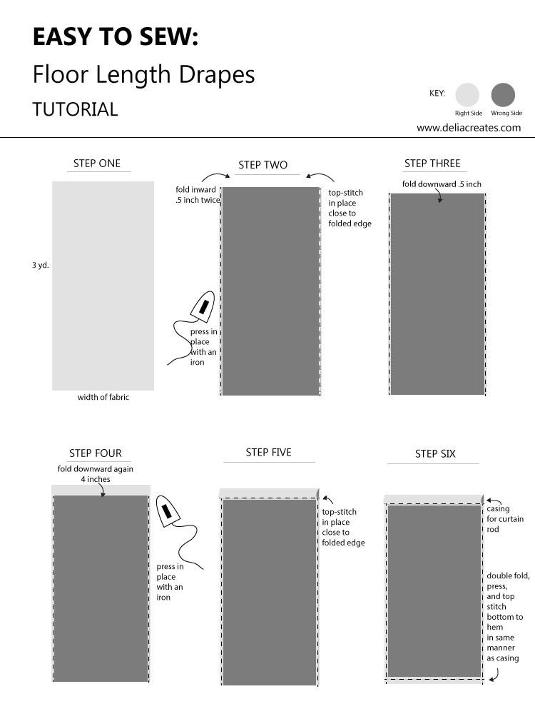 How To Sew Floor Length Drapes - the easy way! // www.deliacreates.com