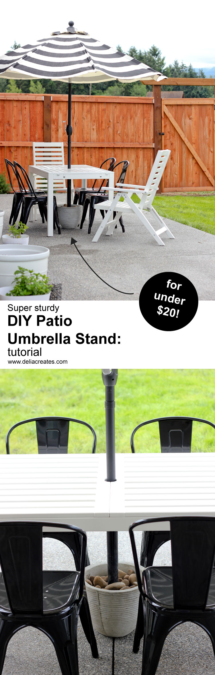 Easy DIY Patio Umbrella Stand Tutorial ( for under $20!) // www.deliacreates.com