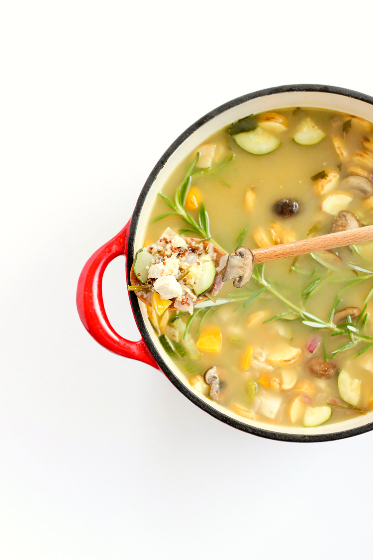 Rosemary Chicken Soup with Quinoa + Roasted Vegetables // www.deliacreates.com