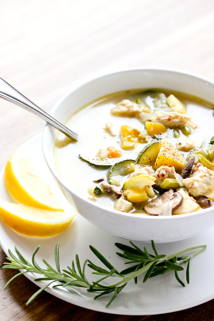 Rosemary Chicken Soup with Quinoa + Roasted Vegetables