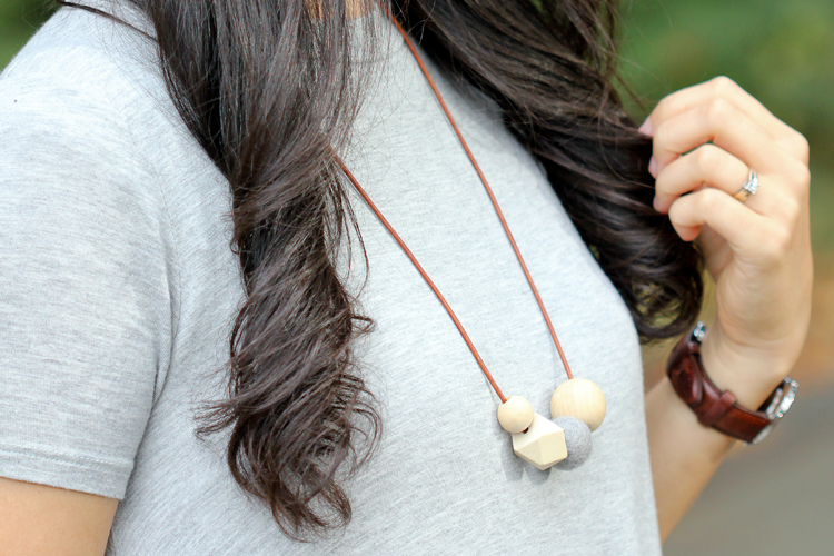 Wood + Felt Bead Diffuser Necklace // www.deliacreates.com