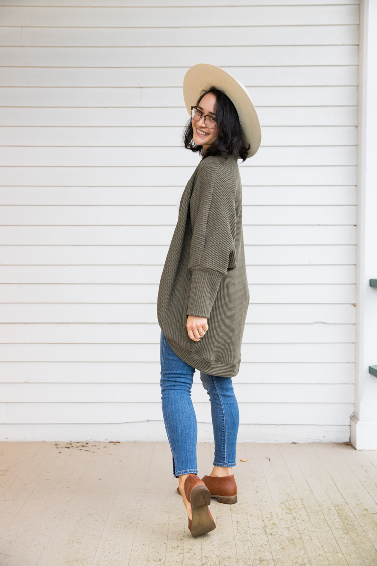 Carrie Cardigan Pattern // www.deliacreates.com // fabric: Cable Cotton Knit from Minerva in Army Green
