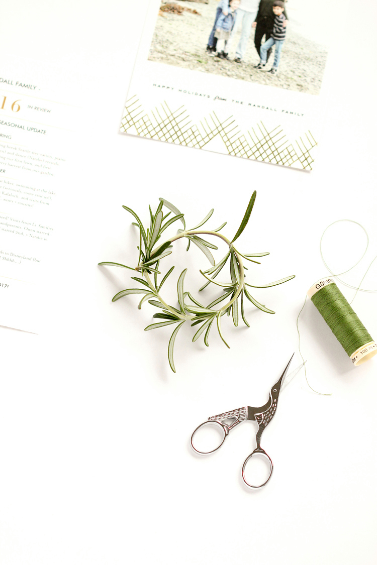 Holiday Card Rosemary Wreaths + ($300 Minted Giveaway) // www.deliacreates.com