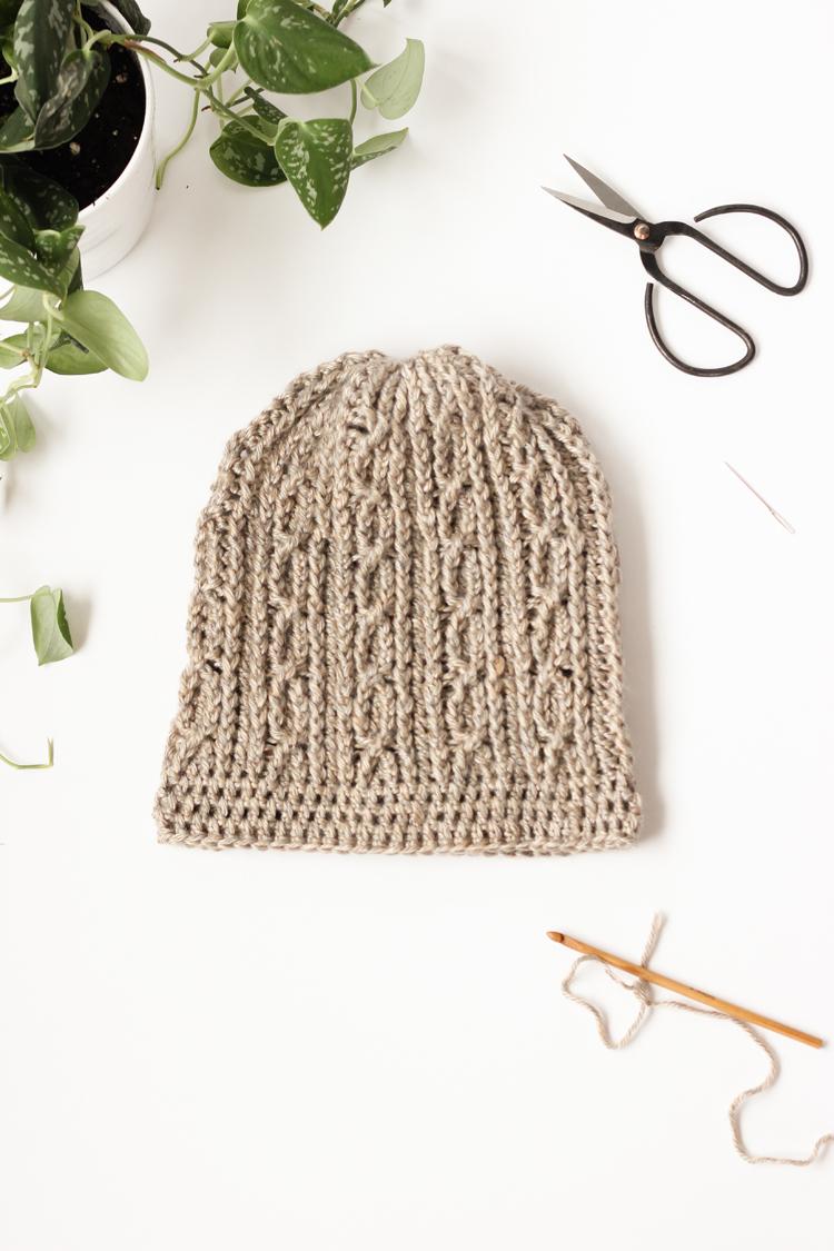 Skip Twist Cabled Beanie Free Crochet Pattern