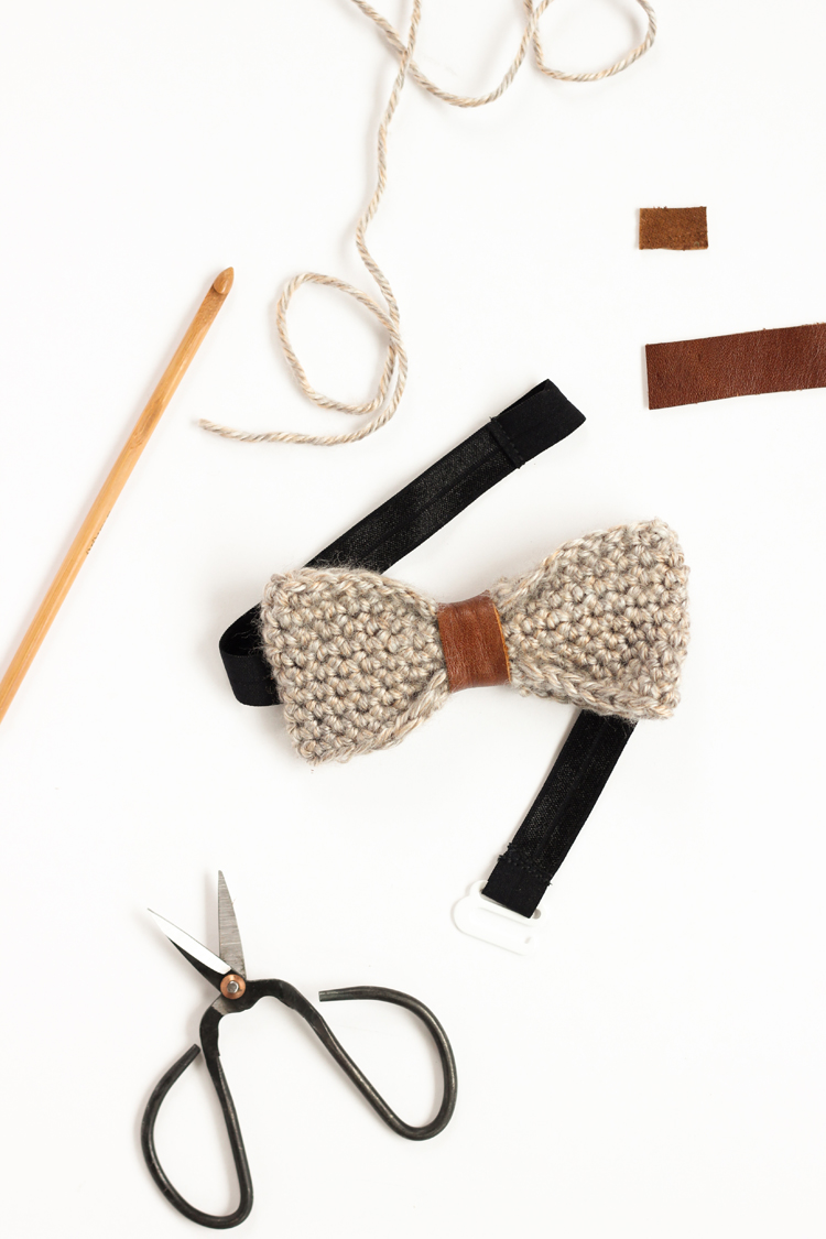 Crochet + Leather Bow Tie Tutorial // www.deliacreates.com