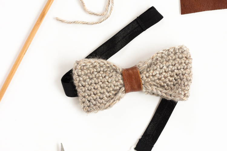 Crochet  Leather Bow Tie Tutorial