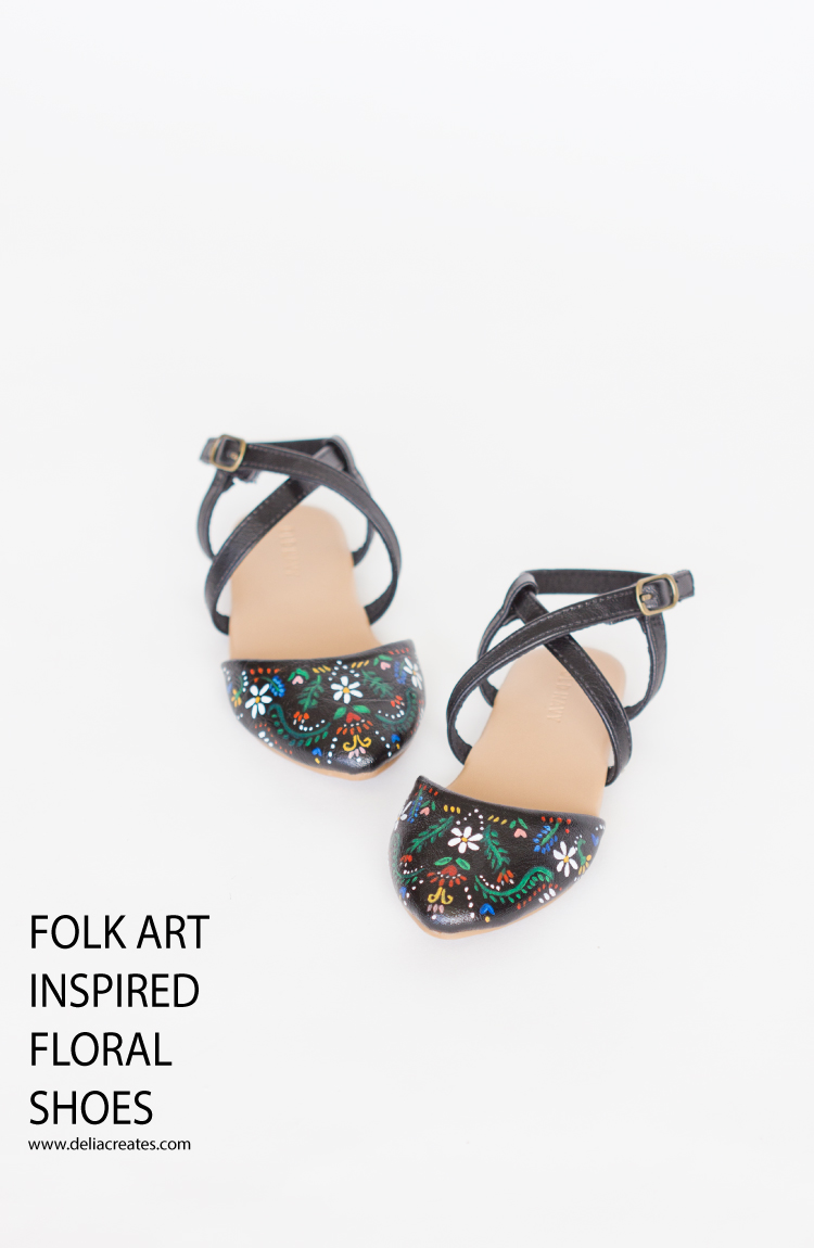 DIY Folk Art Inspired Floral Statement Shoes // www.deliacreates.com