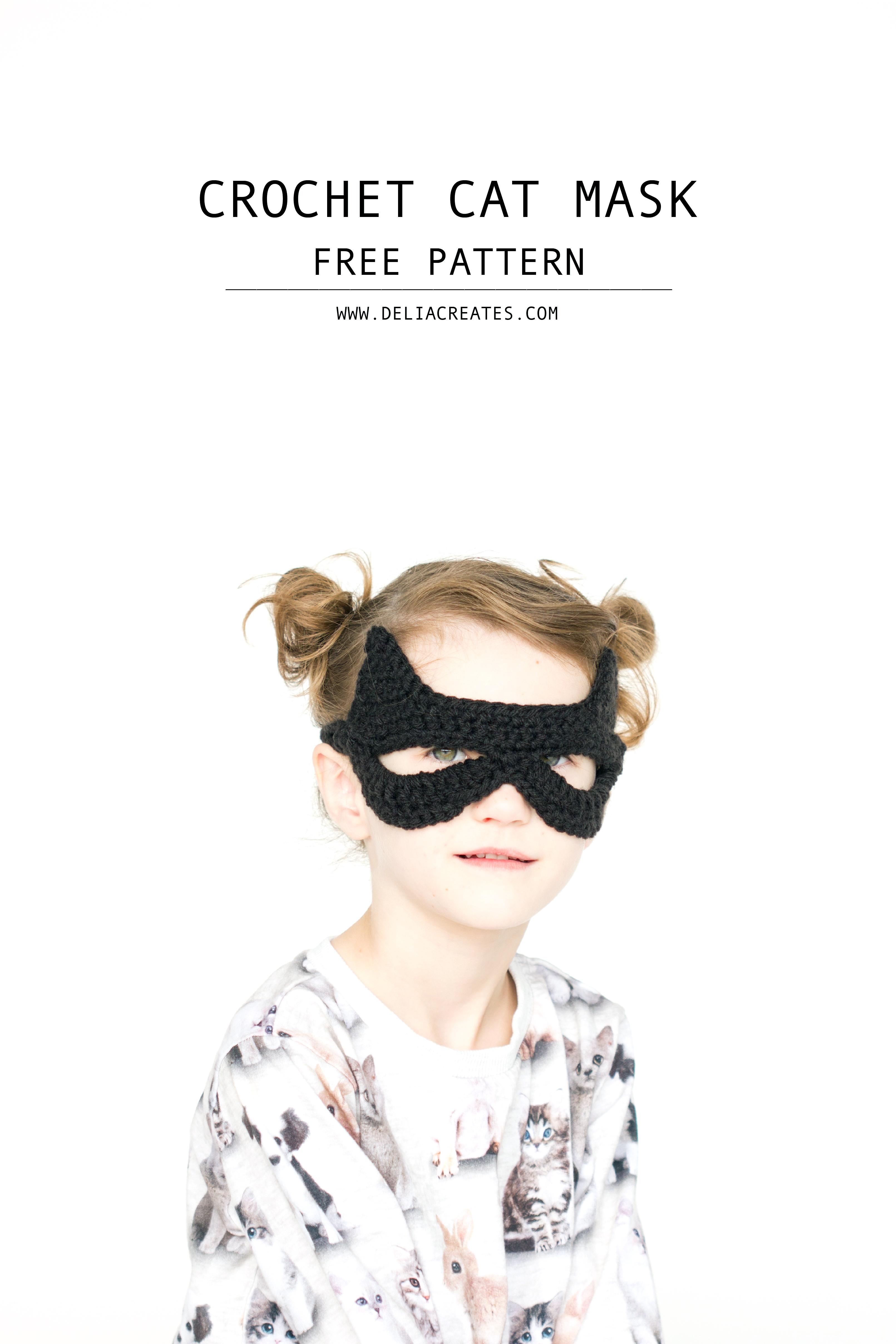 Crocheted Cat Mask: free pattern + tutorial // www.deliacreates.com