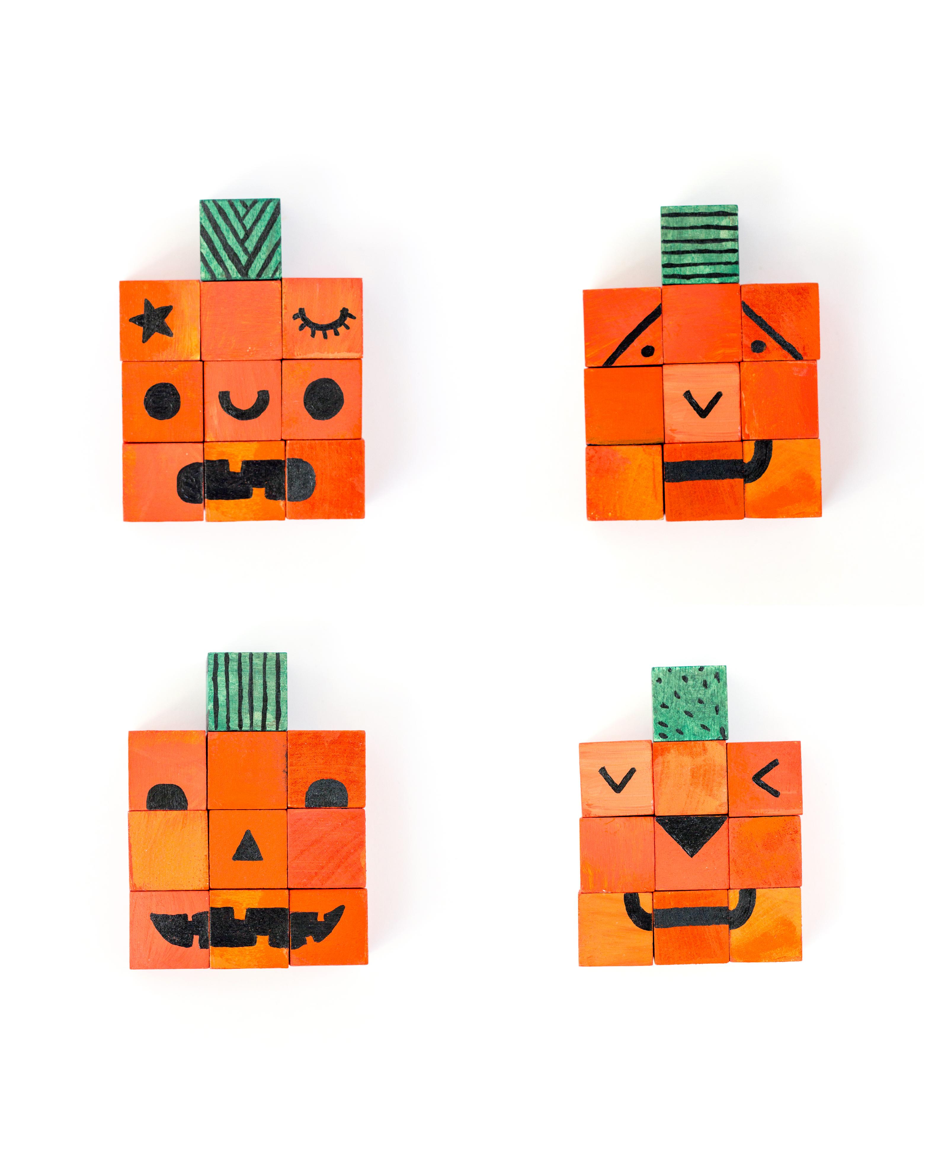 Jack-o-lantern Puzzle Blocks // www.deliacreates.com