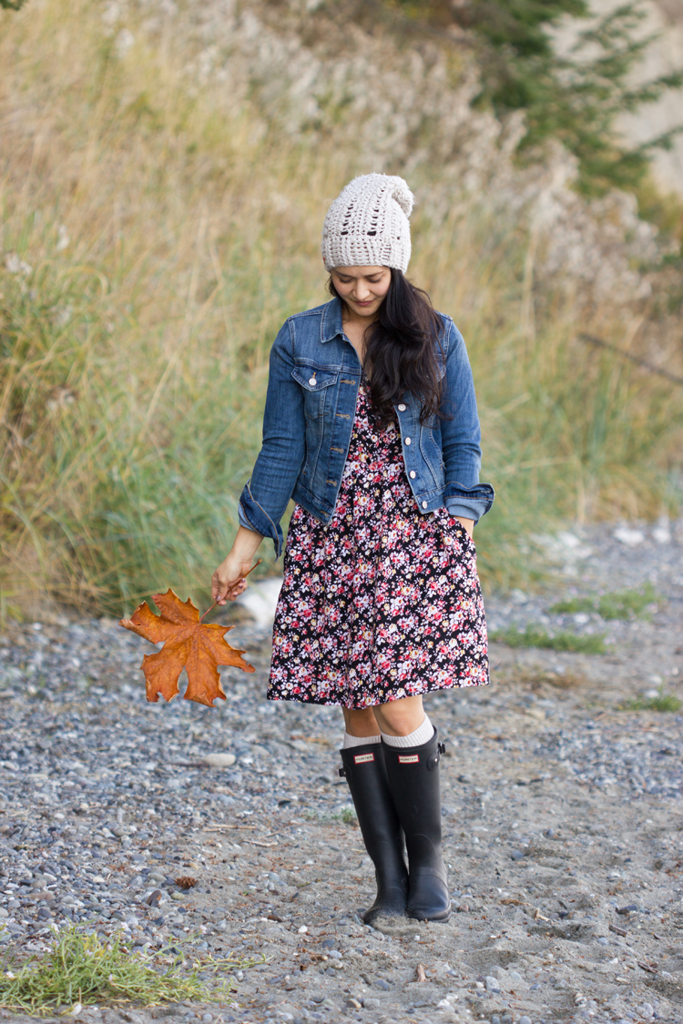 Denim Jacket and Fall Floral Dress // www.deliacreates.com