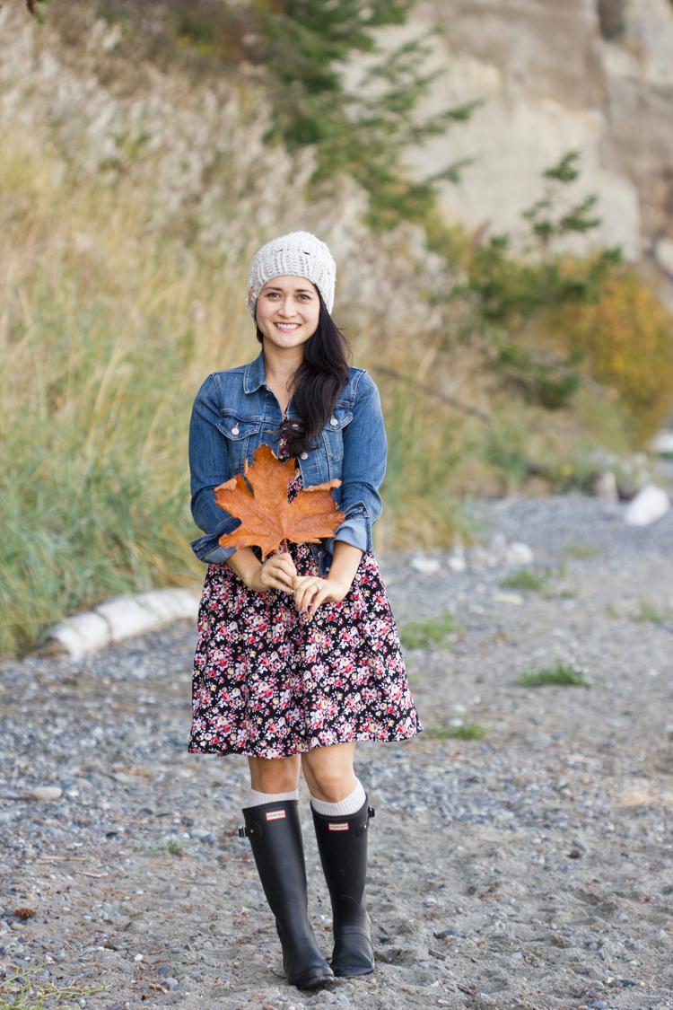 Denim Jacket and Fall Floral Dress // www.deliacreates.com