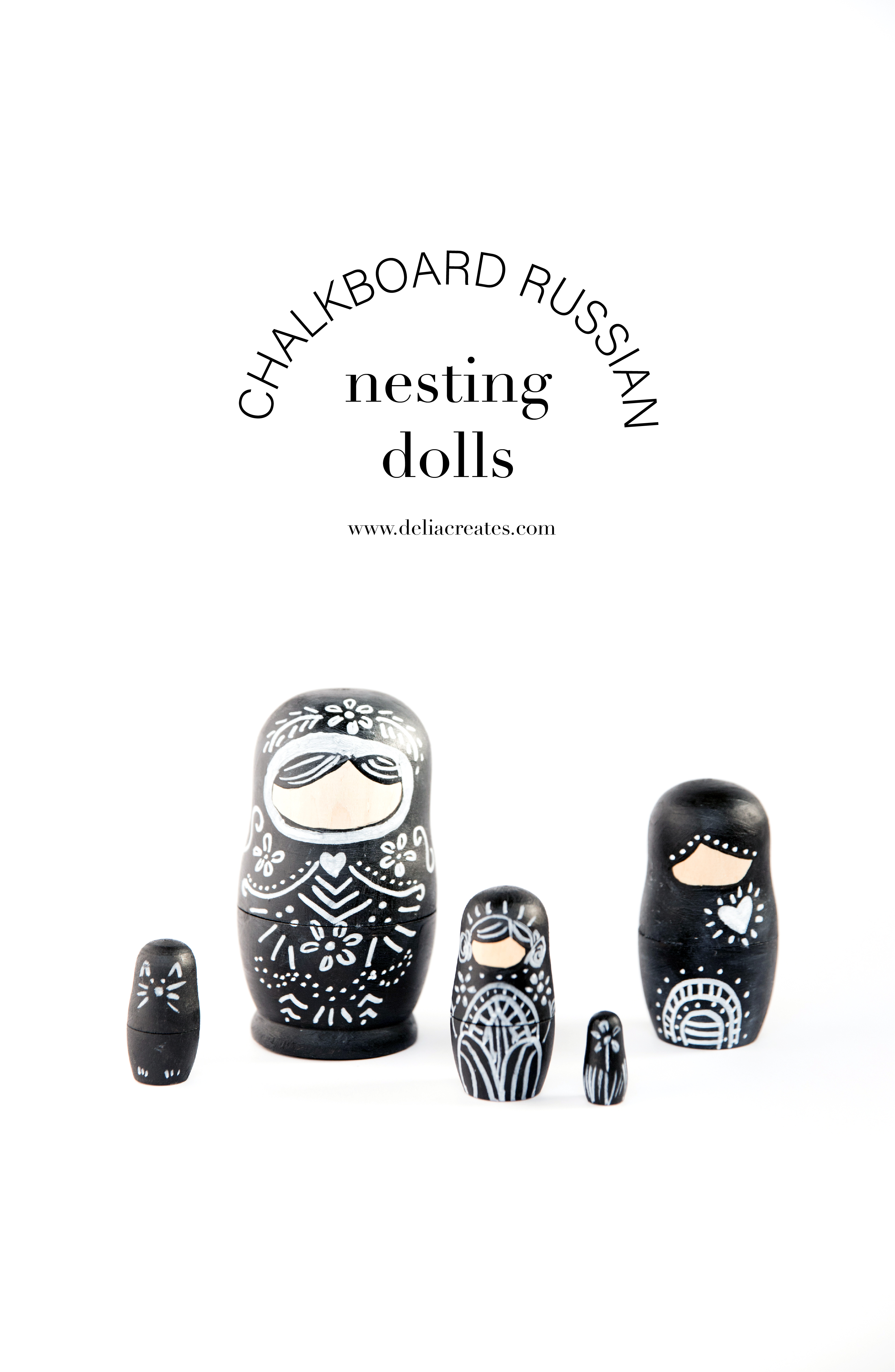 Chalkboard Nesting Dolls DIY // www.deliacreates.com