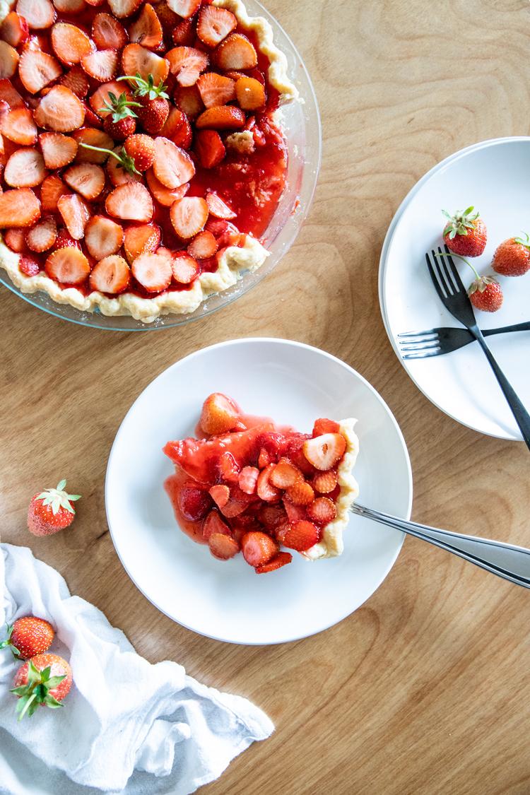 Dairy Free Strawberry Pie + Coconut Oil Pie Crust Recipe // www.deliacreates.com // served soft and gooey