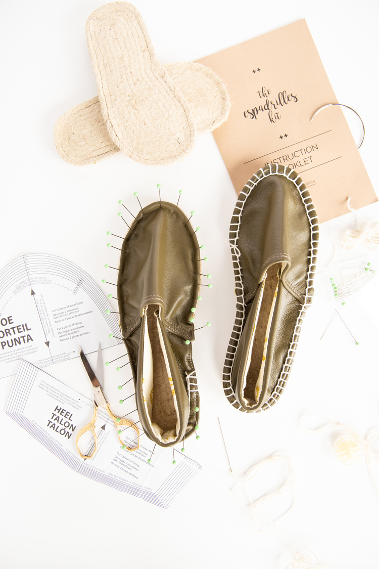 Make your own Leather Espadrilles! // www.deliacreates.com // where to buy the DIY kit and how to modify it with leather
