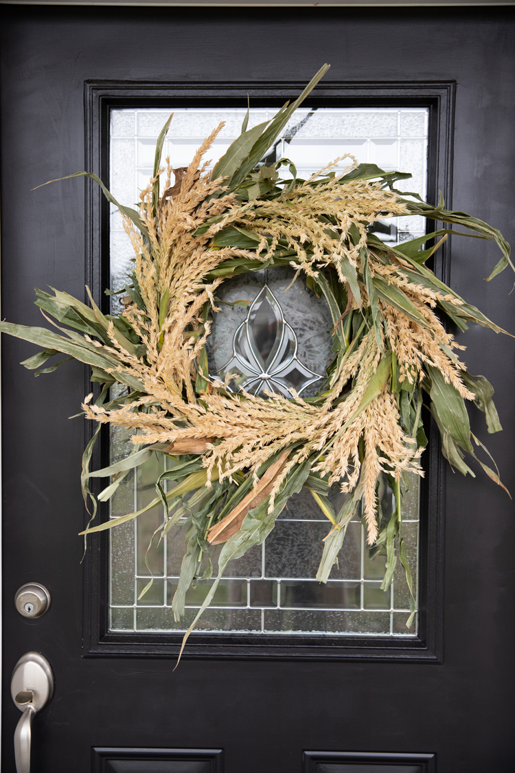 Fresh Cornstalk Fall Wreath Diy