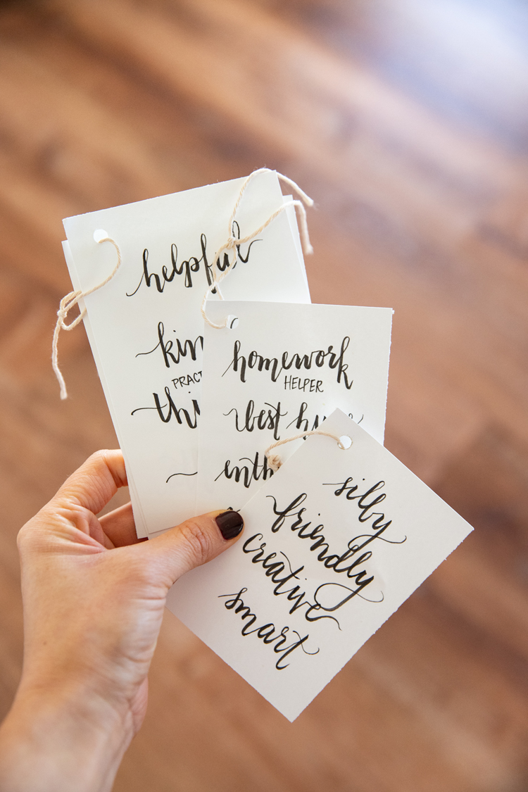 Four Easy Ideas For Making Thanksgiving More Meaningful // www.deliacreates.com // Use compliments as place cards...