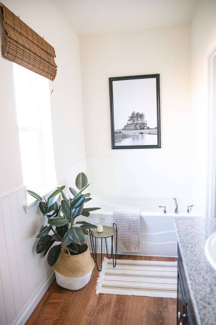 Bathroom Makeover on A Budget, Part One - Painting our Cabinets with Chalk Paint, Fixtures, and Flooring // www.deliacreates.com