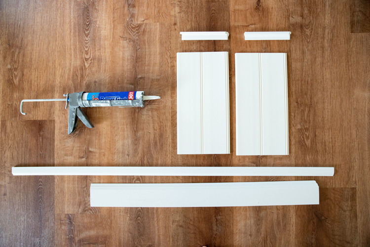 DIY Bathroom Makeover on a Budget, Part Two - Moulding, Baseboards and Bead Board // www.deliacreates.com