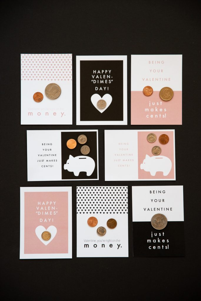 More Coin Valentines - Free Printables // www.deliacreates.com // sugar free, plastic free valentines!