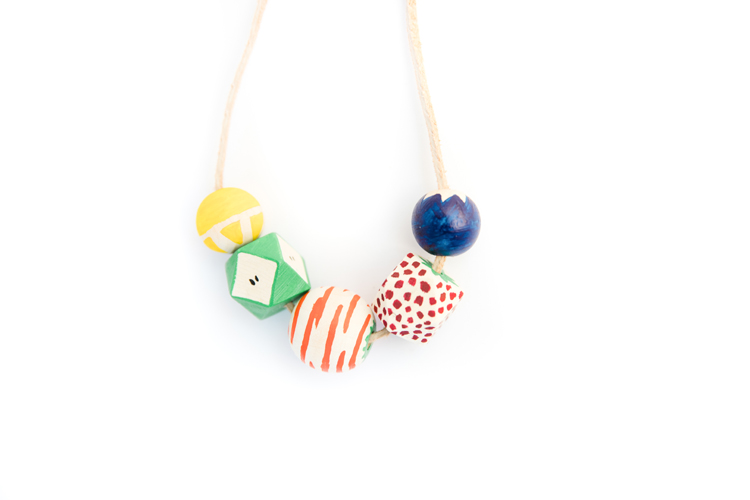 Fruit Bead Necklace DIY // www.deliacreates.com // make a fruit inspired wood bead necklace with simple supplies!