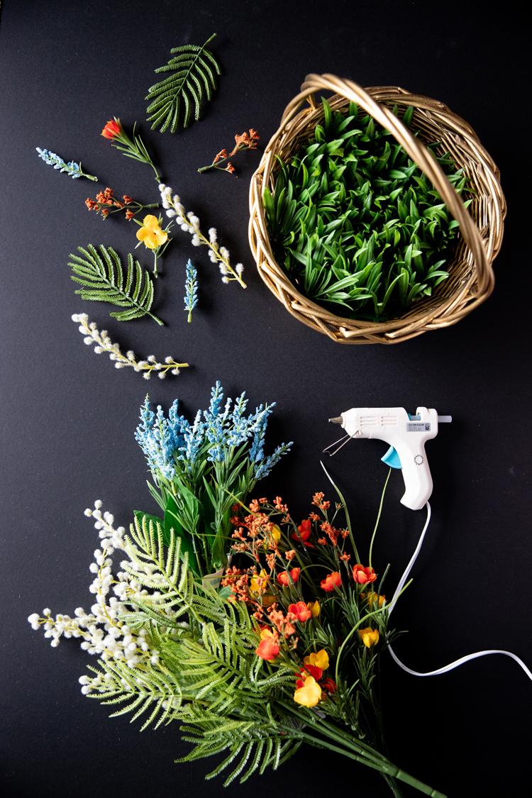 Floral Easter Basket // www.deliacreates.com // easy tutorial for dressing up your Easter basket