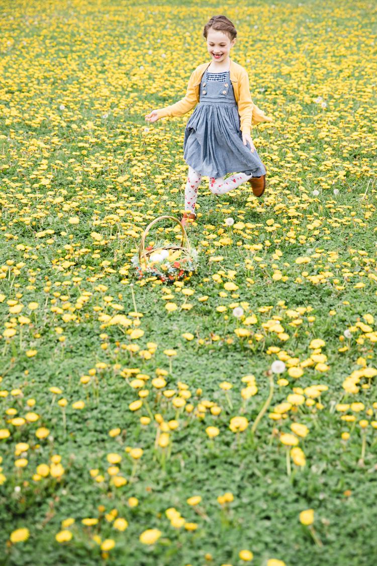Floral Easter Basket in a dandelion field // www.deliacreates.com