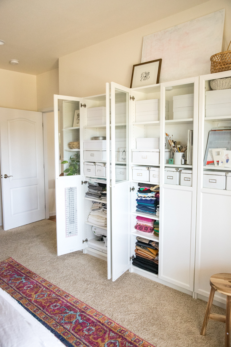 Making room for a Crafting and Sewing Space in a Bedroom // www.deliacreates.com // easy, sustainable storage solutions for a small space