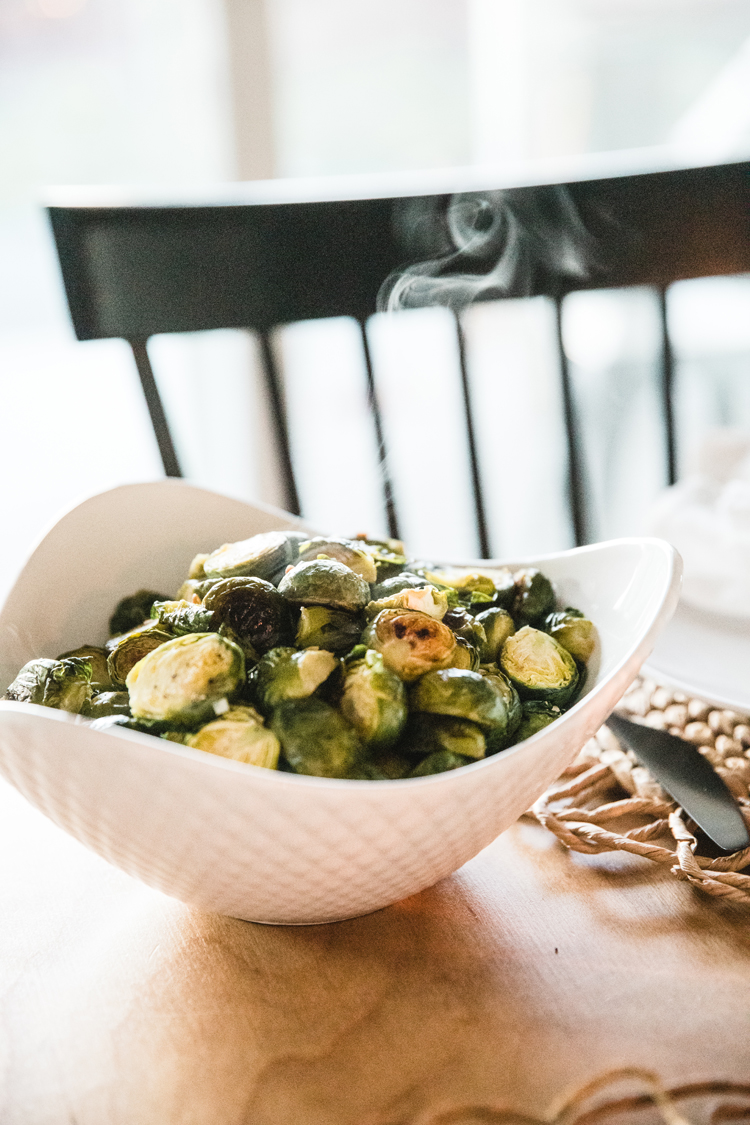 Allergy Friendly Thanksgiving Dinner // Roasted Brussel Sprouts // www.deliacreates.com