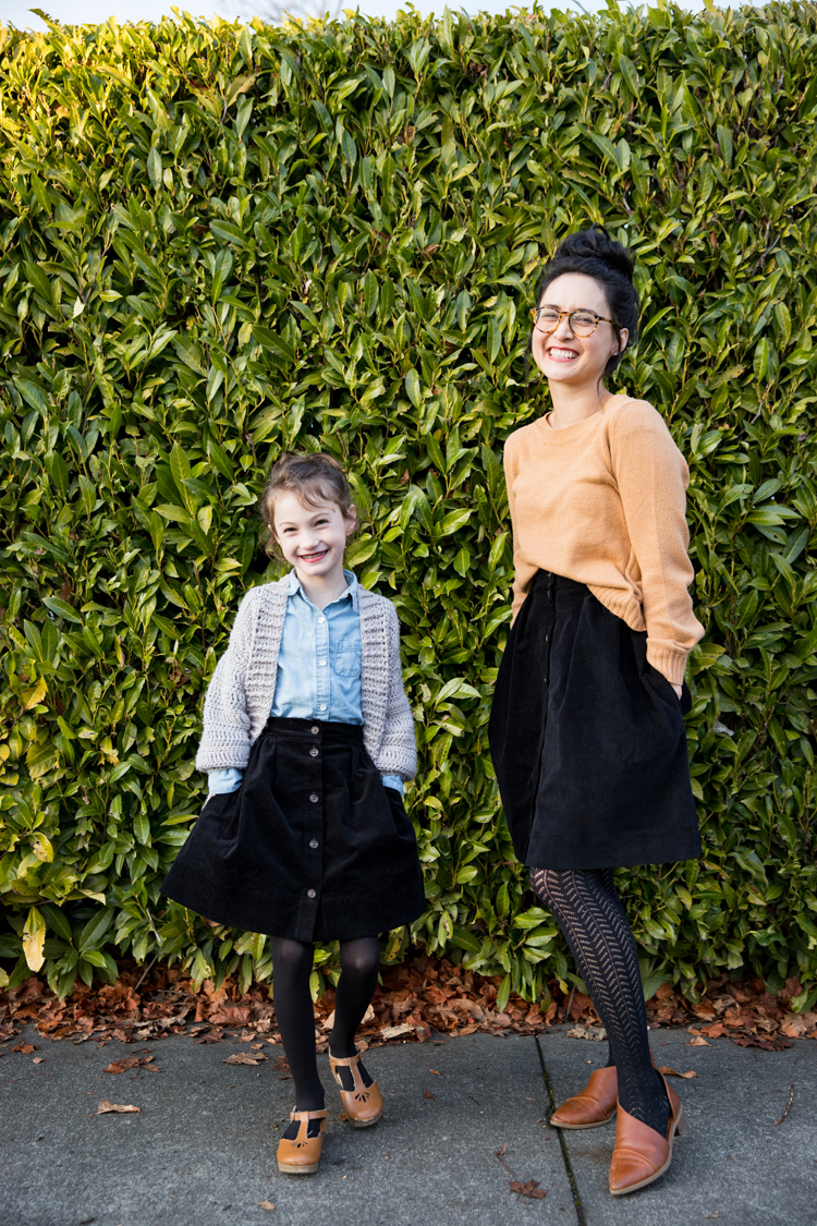 Mommy + Me Corduroy Skirts // sewing details at www.deliacreates.com