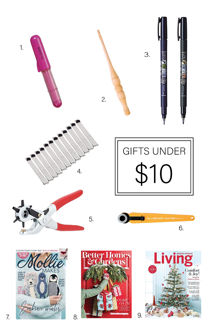 25 Gifts for Makers under $25 - under $10 round up // www.deliacreates.com