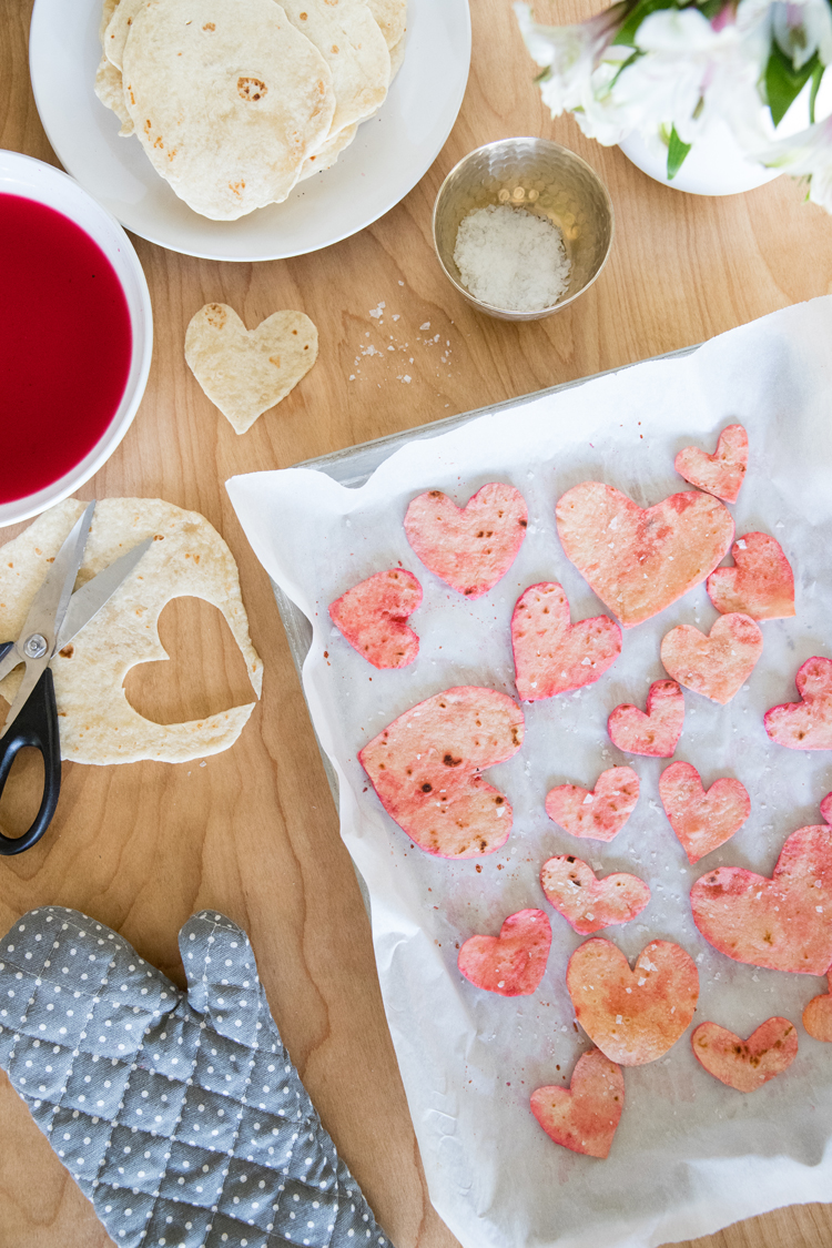 Homemade Beet Dyed Heart Chips // www.deliacreates.com