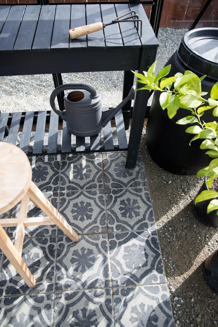 DIY Stenciled Paver Greenhouse Flooring // www.deliacreates.com